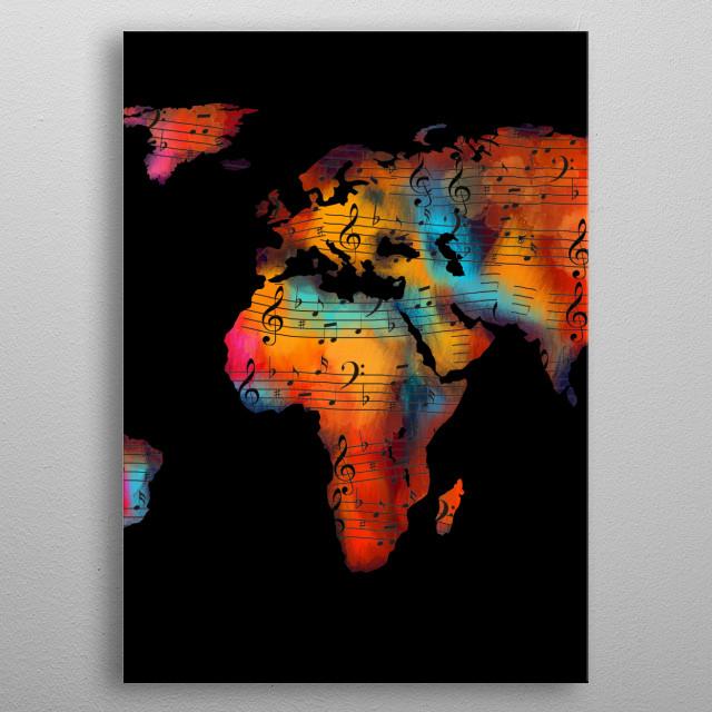 World Map Paintings Poster Print Metal Posters Displate