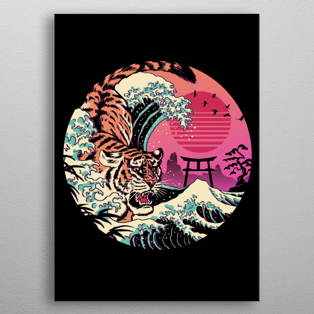 Rad retro waves with the classic Japanese tiger. metal poster