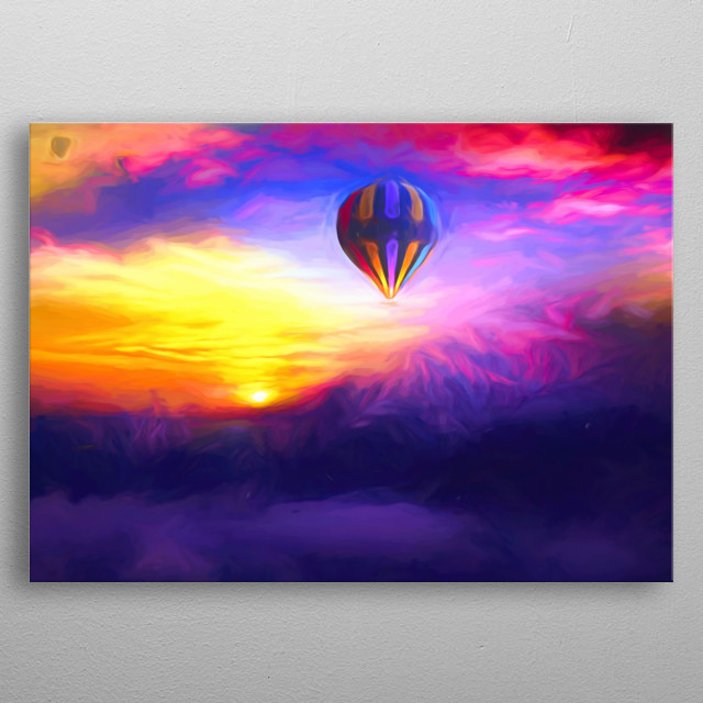In a hot-air balloon high above the mountains you can see the sunset even more beautiful metal poster