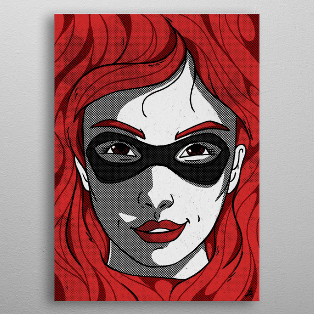 A beautiful face of a super girl in the best comic style! metal poster