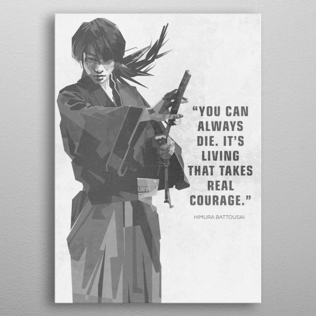 An geometric illustration of Rurouni Kenshin, a manga book character. metal poster