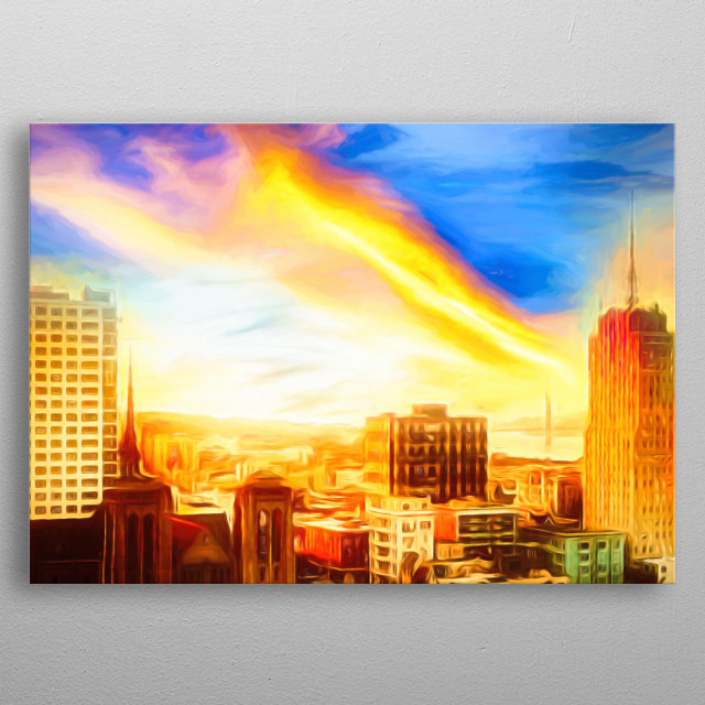 A sun sets over the roofs of the skyscraper, leaving a breathtaking horizon metal poster