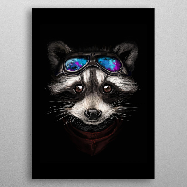 Inspired by Rocket the Raccoon a portrait of a trash panda with goggles reflecting a beautiful nebula.  metal poster