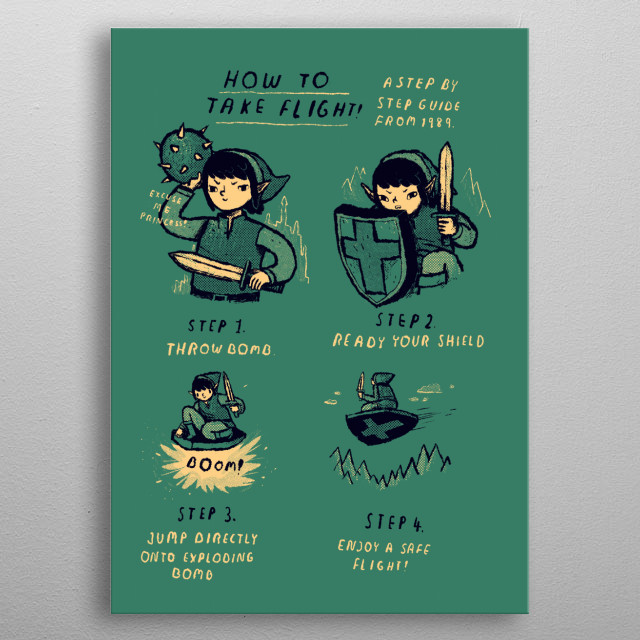 how to take flight. a step by step guide from 1989. metal poster