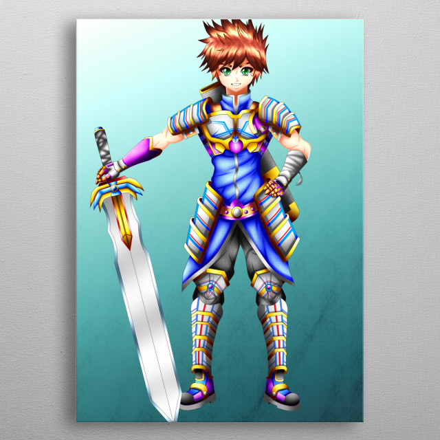 Jacob Fire-Heart, he is super hero swordsman of the medieval time. metal poster
