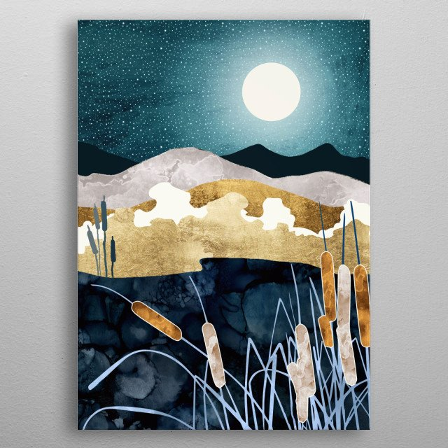 Abstract landscape of a summer lake under an evening sky with stars, gold and blue metal poster