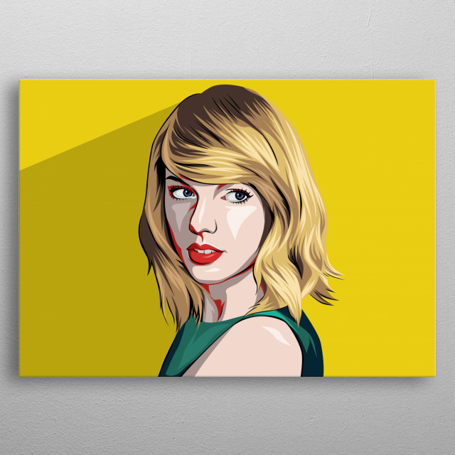 Taylor Swift vector portrait in vector art style.  metal poster