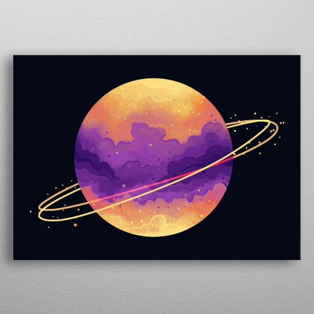 The second largest planet in the solar system. Saturn, the ringed pal in outer space. Rules Capricorn and Aquarius. metal poster
