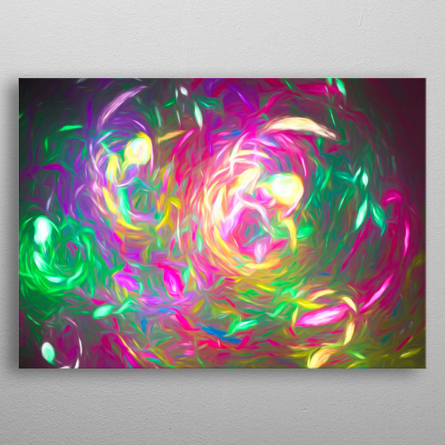 Rainbow Fractal - abstract Art metal poster