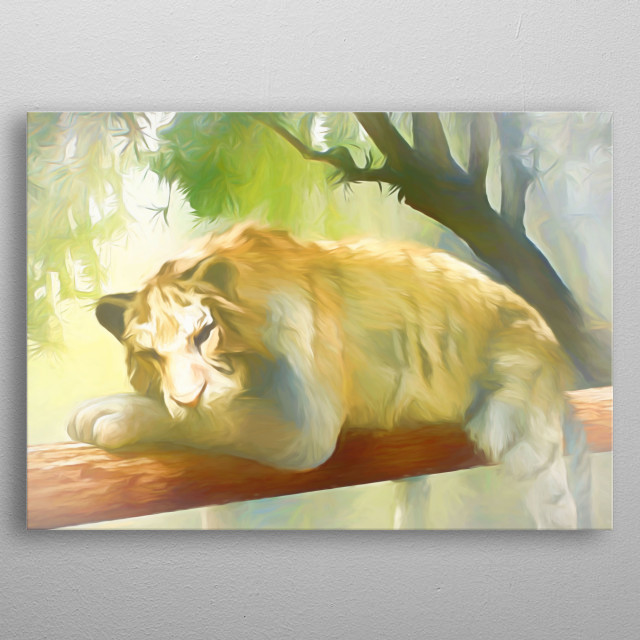 Chilling Tiger in the woods lying on a huge branch metal poster