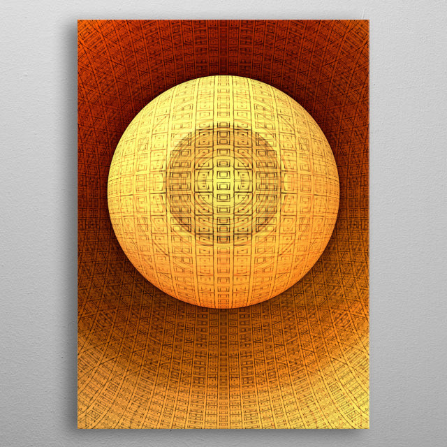 Three-dimensional Sphere with a pattern. metal poster