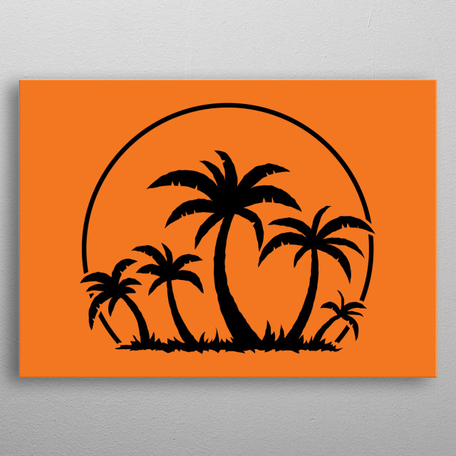 Vector illustration of a tropical sunset and palm trees on a small vacation island paradise. metal poster