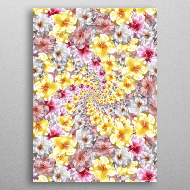 A tropical flower collage, with a twist, reminds me of pictures of Bali!  metal poster
