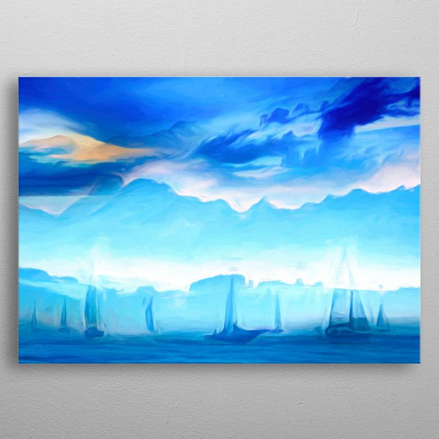 sailing with boats on the blue ocean metal poster