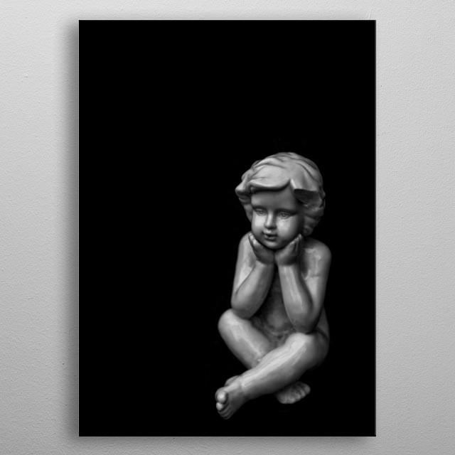 Image of a sculpture of a little boy metal poster