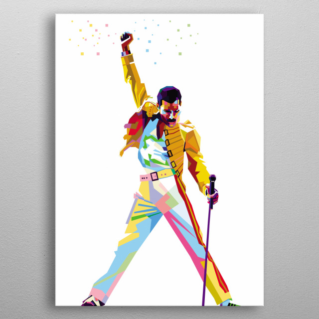 Illustration Colorful Freddie Mercury with Pop Art Modern Style metal poster