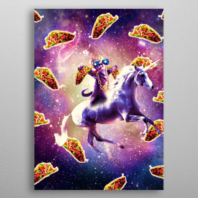 Pick up this epic funny outer space design. This funky galaxy design features a thug kitty cat wearing glasses riding on a unicorn with taco metal poster