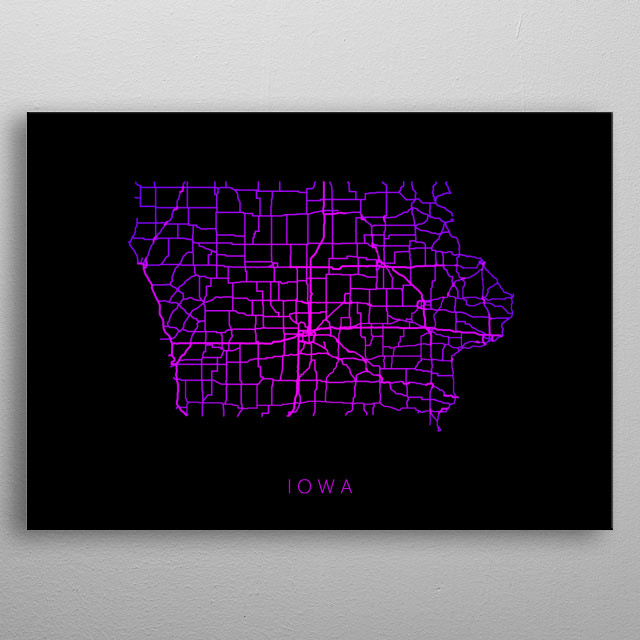 Map of Iowa created by roads and highways. metal poster