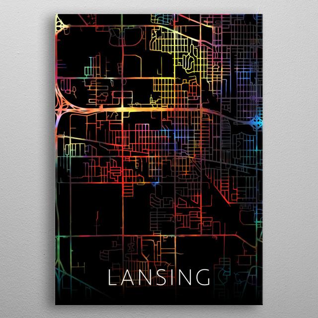 Lansing Michigan Watercolor City Street Map Dark Mode metal poster