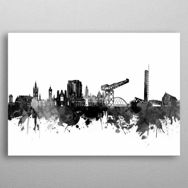 Glasgow skyline inspired by decorative,black and white,watercolor,art design metal poster