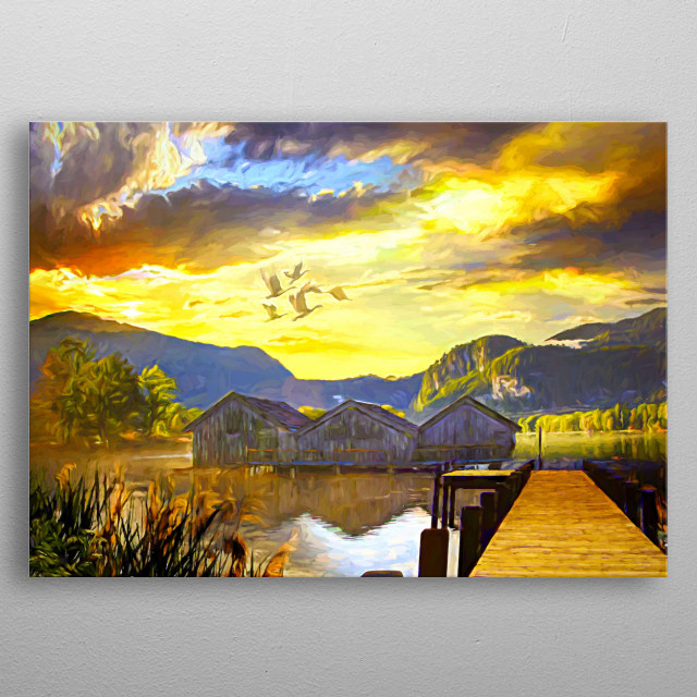 Rest at the Lake with a wonderful sunset metal poster