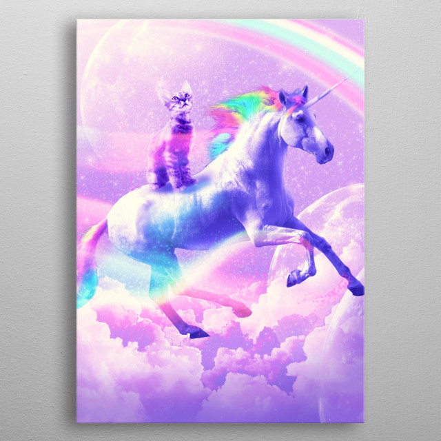 Pick up this epic funny kitten on unicorn in space design.  metal poster