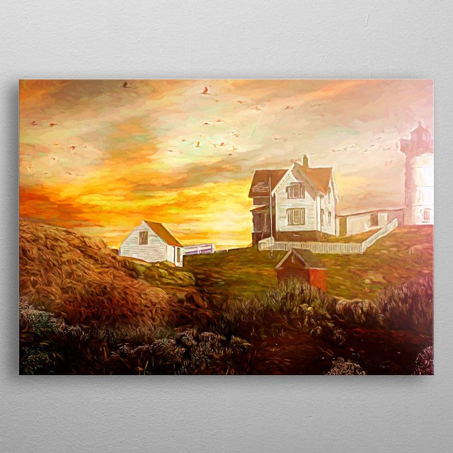 ranch,lighthouse in front of a golden sunset metal poster