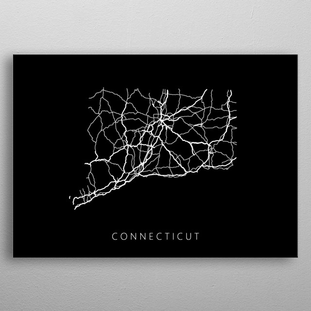 Map of Connecticut created by roads and highways. metal poster