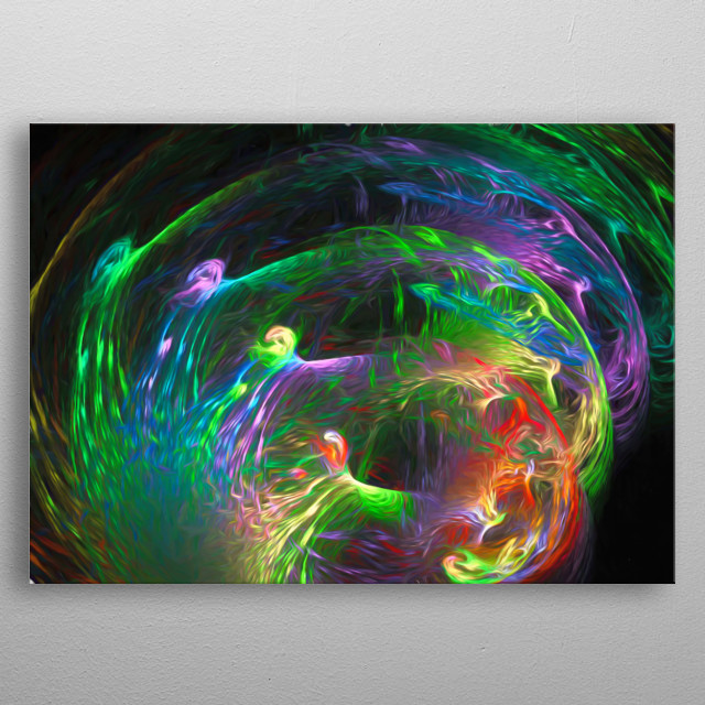 Circles abstract in wonderfully rainbow colors metal poster
