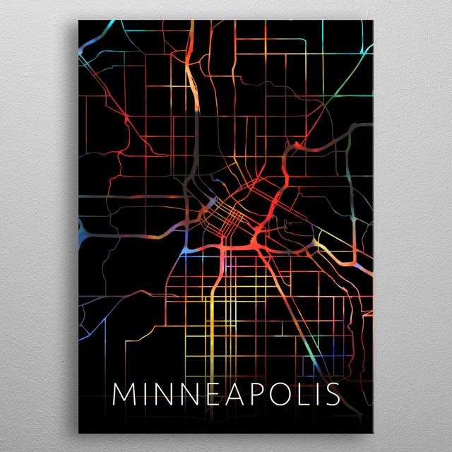 Minneapolis Minnesota Watercolor City Street Map Dark Mode metal poster