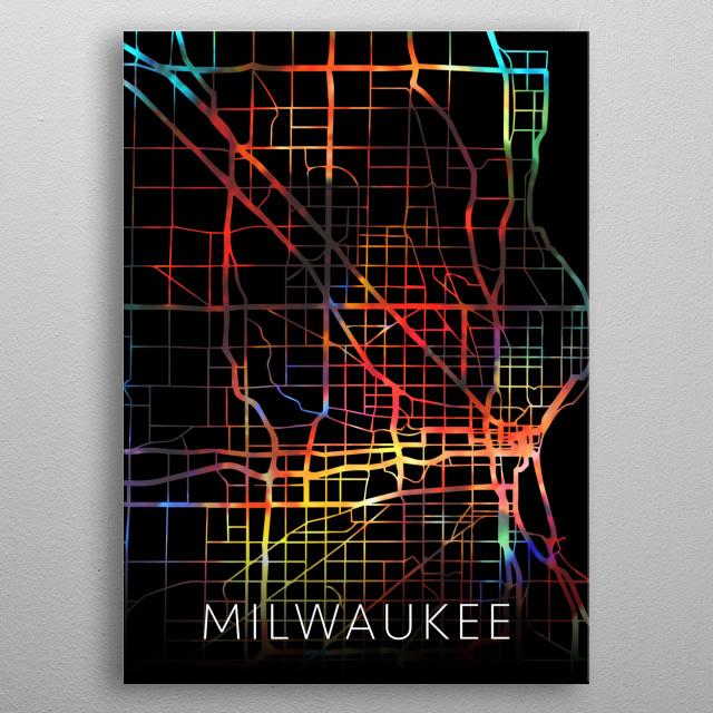 Milwaukee Wisconsin USA Watercolor City Street Map Dark Mode metal poster