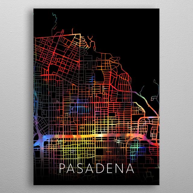 Pasadena California USA Watercolor City Street Map Dark Mode metal poster