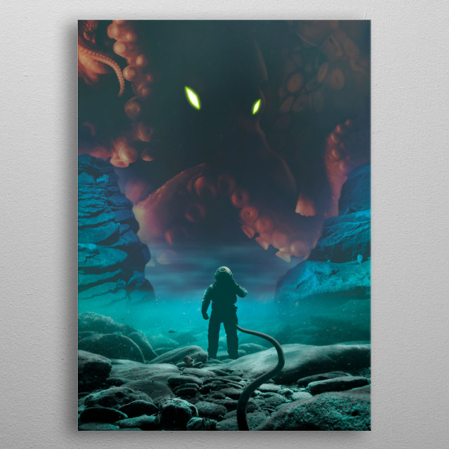 Diver confronting the mythical Kraken deep sea monster metal poster