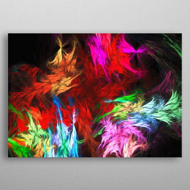 Feathers of Fractals, abstract,colorful and amazing rainbow colors metal poster