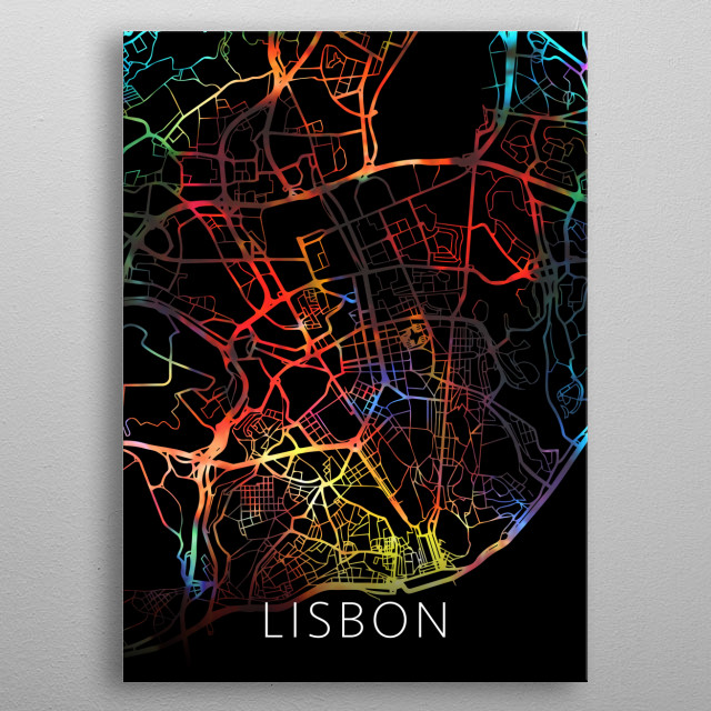 Lisbon Portugal Watercolor City Street Map Dark Mode metal poster