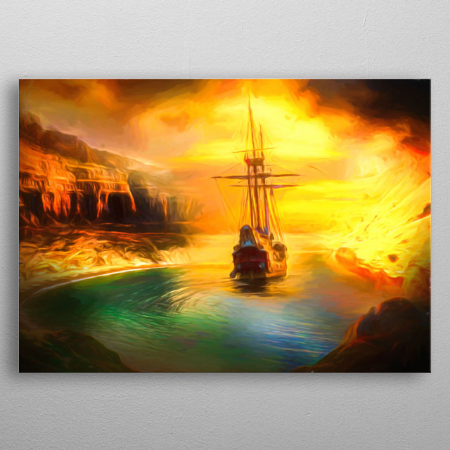 sailing ship in the bay sourrounded with mountains metal poster