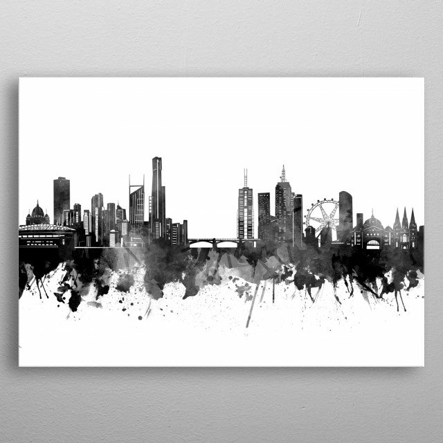 Melbourne skyline inspired by decorative,black and white,watercolor,art design metal poster