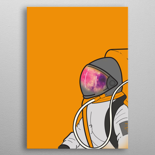 Illustration of an astronaut inspired modern day dreamers metal poster