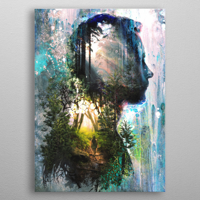 A deep contemplative journey of the mind and the heart when walking alone in the forest we are truly never alone. metal poster