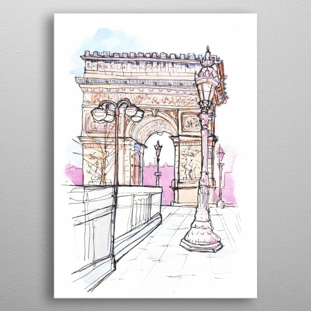 Sketches from Paris metal poster