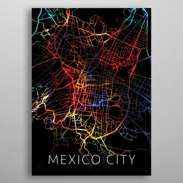 Mexico City Watercolor City Street Map Dark Mode metal poster