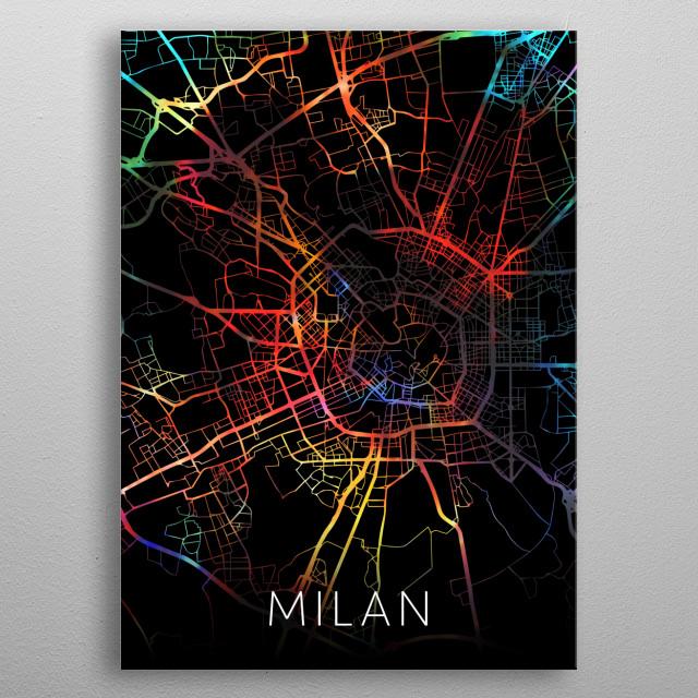 Milan Italy Watercolor City Street Map Dark Mode metal poster