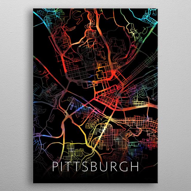 Pittsburgh Pennsylvania Watercolor City Street Map Dark Mode metal poster