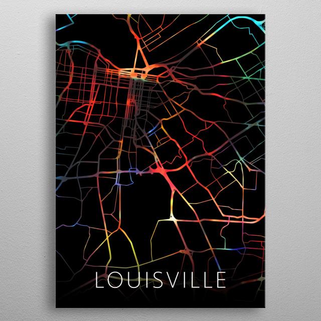 Louisville Kentucky Watercolor City Street Map Dark Mode metal poster