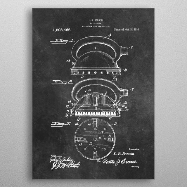 patent Benson Bath brush 1916 metal poster