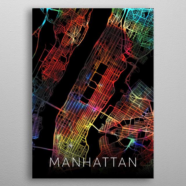 Manhattan New York USA Watercolor City Street Map Dark Mode metal poster