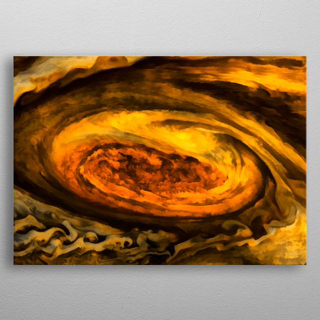 The best known feature of Jupiter is the Great Red Spot, a persistent anti cyclonic storm that is larger than Earth. metal poster