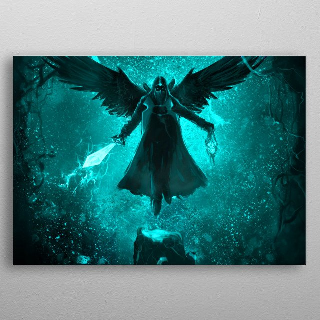 angel of the hell, this is a digital painting metal poster