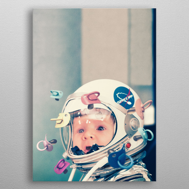 space child trapped inside a helmet looks at the pacifiers metal poster