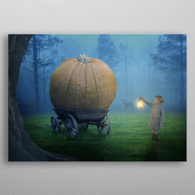 Alone girl with lantern in scary dark Halloween night metal poster